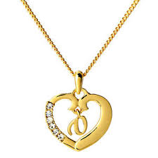 Gold Plated Name Necklace V 18k Gold Plated Name Necklace Heart Pendant Initial Birthday