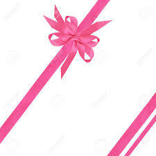 ribbon and bows pink satin ribbon and bows white background stock photo