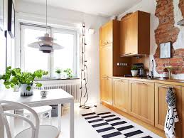 Brick Backsplash In Kitchen Kitchen Style Scandinavian One Wall Eat In Kitchen Design Brick