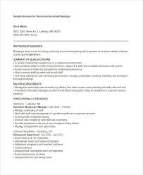 Restaurant Assistant Manager Resume Manager Resume Examples 23 Free Word Pdf Documents Download