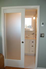 Single Mirror Closet Door Single White Wooden Sliding Glass Door With Frozen Glass On The