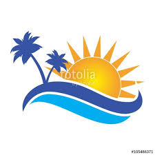 sun palm tree logo stock image and royalty free vector
