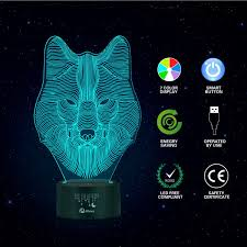 3d Lamps Amazon by Animals Wolf 3d Night Light Touch Table Desk Lamps Elstey 7 Color