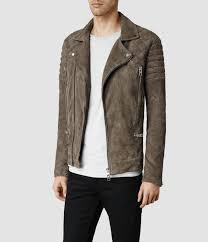 mens moto jacket allsaints circuit suede biker jacket in brown for men lyst