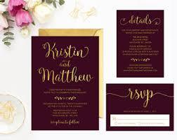 burgundy wedding invitations burgundy invitation etsy