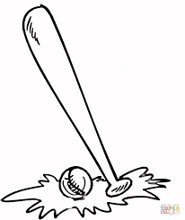 coloring page of bat and ball kids coloring