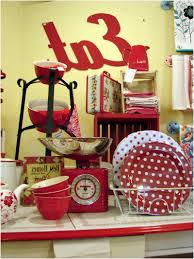 new red polka dot kitchen accessories