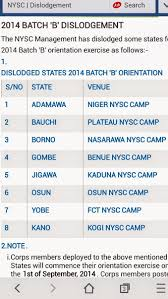 nysc stream b information for living
