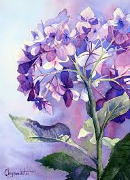 Purple Hydrangea Purple Hydrangea Painting In Watercolor Chrysovalantou Mavroudis