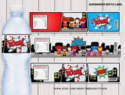superheroes pop art water bottle label superhero printable