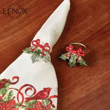 lenox holiday ribbon napkin ring set of 4
