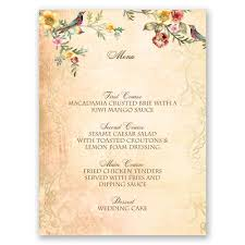 wedding menu cards vintage birds menu card invitations by