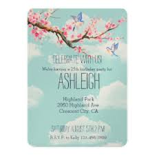 cherry blossom birthday invitations u0026 announcements zazzle co uk