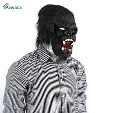 2017 cosplay fur mane latex mask halloween horror gorilla head