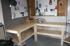 Diy L Shaped Desk by Tips Small L Shaped Natural Wood Garage Workbench Ideas
