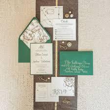 wedding inserts deposit 5x7 metallic gold floral forest green wedding invitation