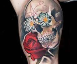 artist matyas halasz sugar skull with flowers tattoo 17171084858 jpg