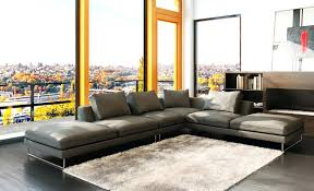 Oversized Couches Living Room Living Room Sectionals 5051 Modern Grey Leather Sectional Sofa