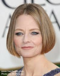 jodie foster s chin length bob with smooth styling and a center part