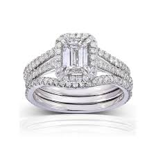 wedding sets on sale unique 1 50 carat emerald cut halo diamond wedding ring set for