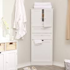 wood tall corner bathroom storage cabinet with door and drawer