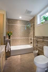 i like the way they did the tub shower combo here but not eclectic bathroom floor plan of contemporary urban bathroom rustic brown tile wall near the white tub in contemporary bathroom with wooden