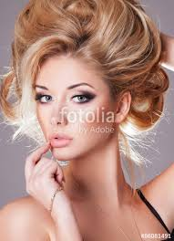 beauty woman face makeup long curly blonde hair