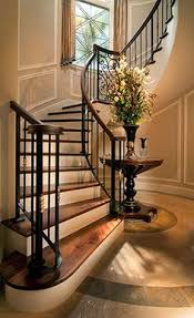 Staircase Design Inside Home Entryway With Rustic Wood Floors L Shaped Stairway Shiplap Wall