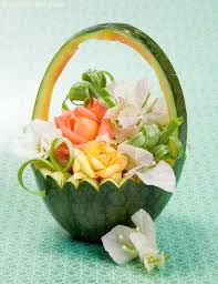 basket fruit watermelon basket fruit carvings recipe by tarla dalal