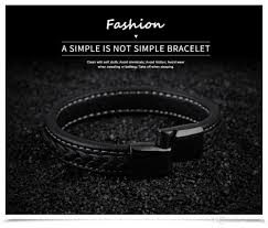 clasp cuff bracelet images Punk rock men 39 s genuine leather cuff bangle bracelet magnetic jpg