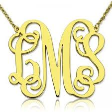 gold plated monogram necklace personalized monogram necklace