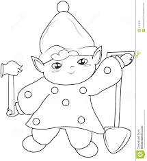 elf with shovel and hammer coloring page stock illustration