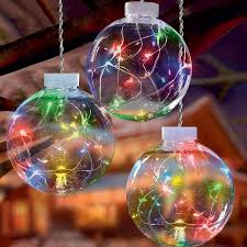 premier led lit pin wire globe hanging decoration 3 pack multi