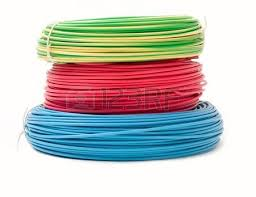 green red and blue wire bundles isolated on white stock photo