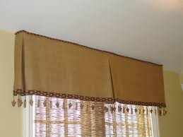 linen box pleat valance with bead trim for hallway window over