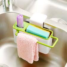 Kitchen Sink Caddy by Sponge Scrubber Brush Holder Drainer Plastic Storage Dry Rack