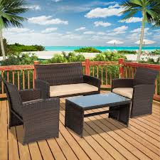 Outdoor Patio Furniture Covers Walmart by Best Choice Products 4pc Wicker Outdoor Patio Furniture Set