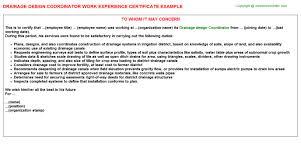 drainage design coordinator work experience certificate