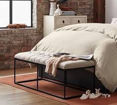 Bedroom Upholstered Benches Albany Tufted Upholstered Bench Pottery Barn