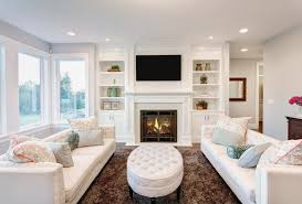 living room fireplace furniture small white space sofa upholstered