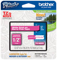 how to install brother p touch tape brother tze mqp35 1 2 in white on berry pink p touch tape 12mm