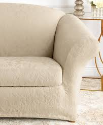 2 Piece T Cushion Loveseat Slipcover Sure Fit Stretch Jacquard Damask 2 Piece Loveseat Slipcover