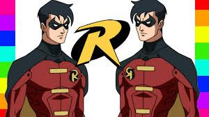 coloring robin dc comics batman coloring pages kids