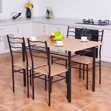 breakfast table with 4 chairs costway 5 piece dining table set with 4 chairs wood metal kitchen