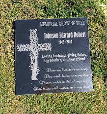 engraved memorial stones memorial cross growing tree granite memorial garden memorial