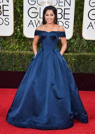 Red Carpet Gowns Sale by Gina Rodriguez Navy Blue Off The Shoulder Red Carpet Dresses