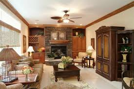 comfy brown leather seating area country living room ideas on a