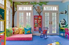 bathroom cool kids playrooms with blue walls and french doors