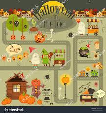 halloween town infographic card street food stock vector 487069420