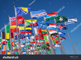 Flags Of Nations Flags All Nations World Flying Blue Stock Photo 125735684